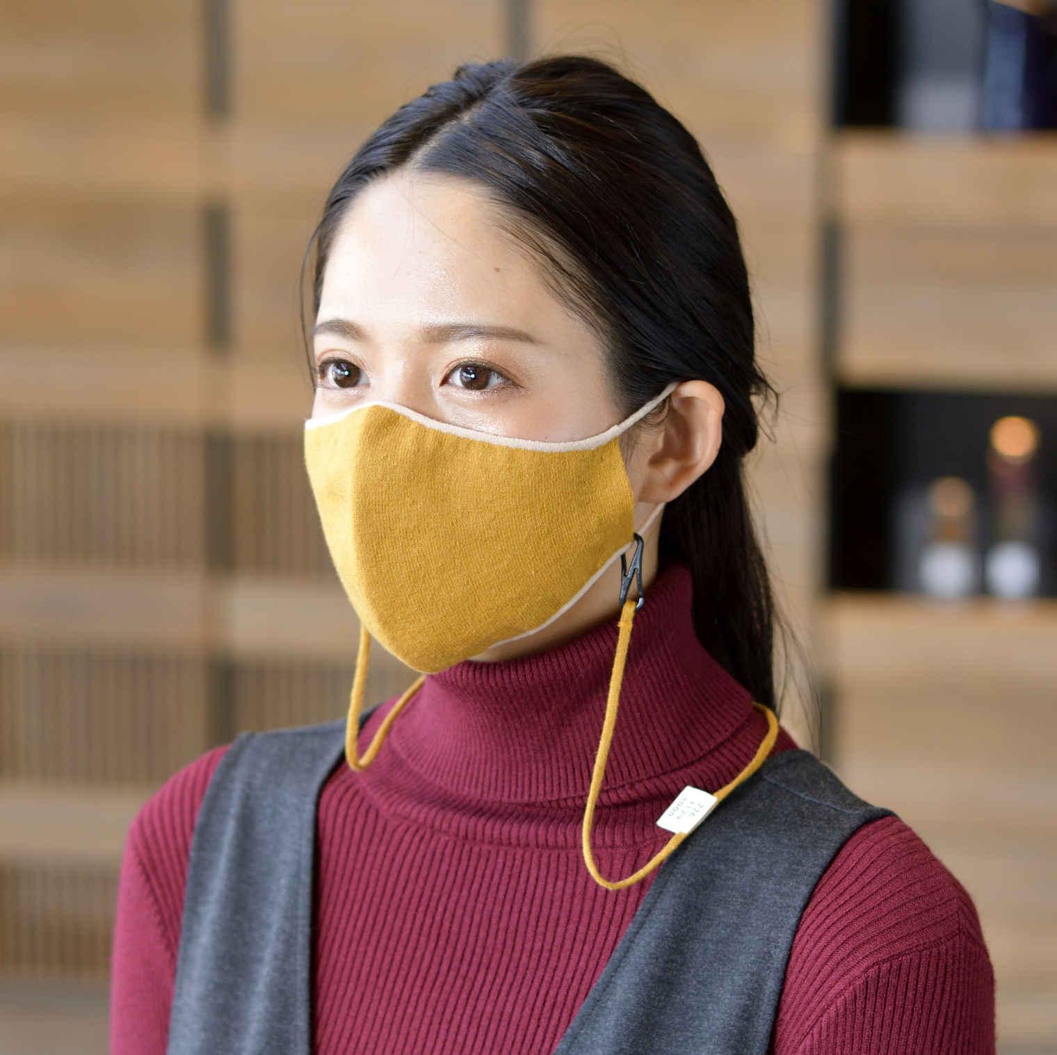 マスク かおをつつむ のびるニットマスク やわらか綿麻 リバーシブル