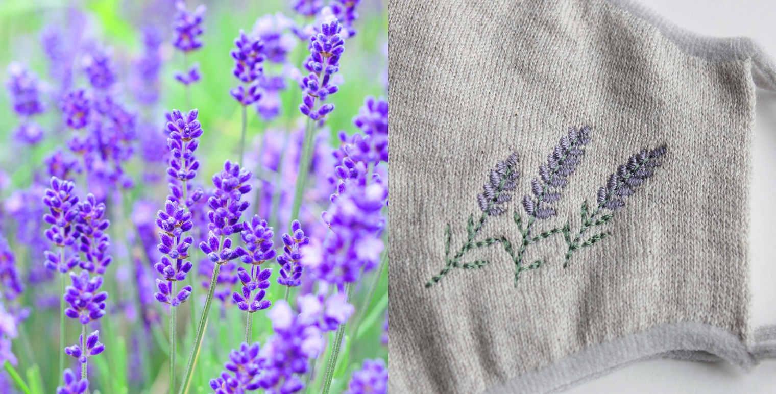 マスク かおをつつむ のびるニットマスク 植物染め ハーブの刺繍