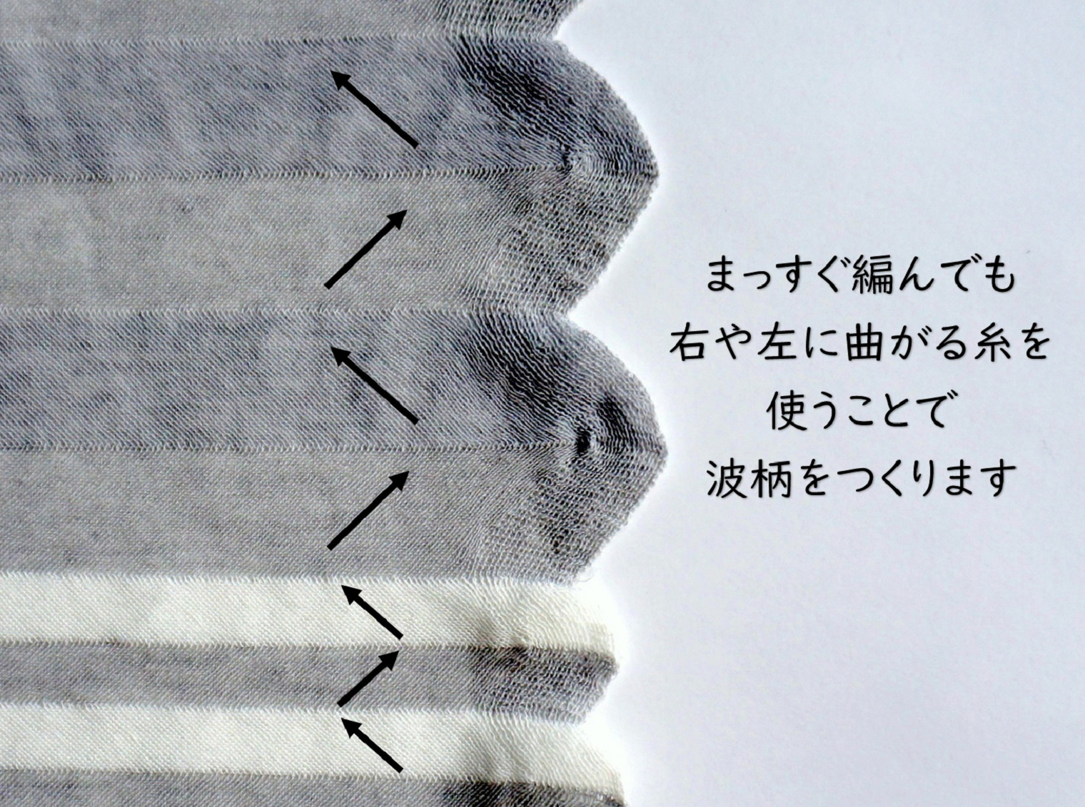nico ストールポンチョ 波と縞 コットン100% 編み地の説明