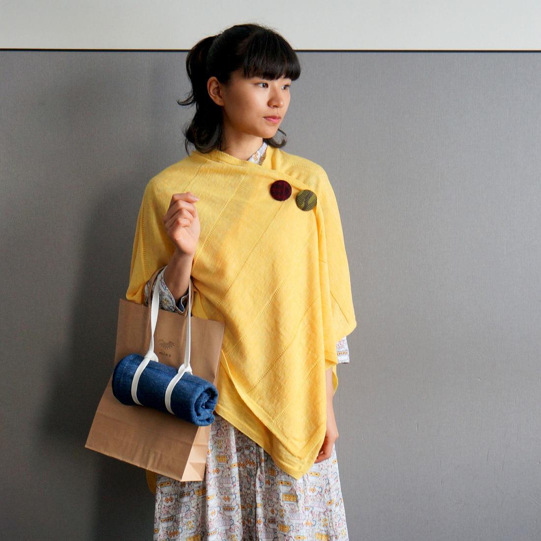 tate-S 羽織るポンチョ 薄手で軽いリネンウール 同色ボーダー