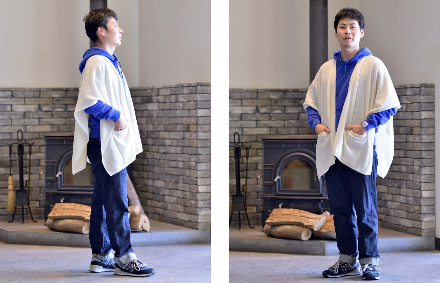 tate-S 羽織るポンチョ 手をあたためるポケット エアリーウール<br />